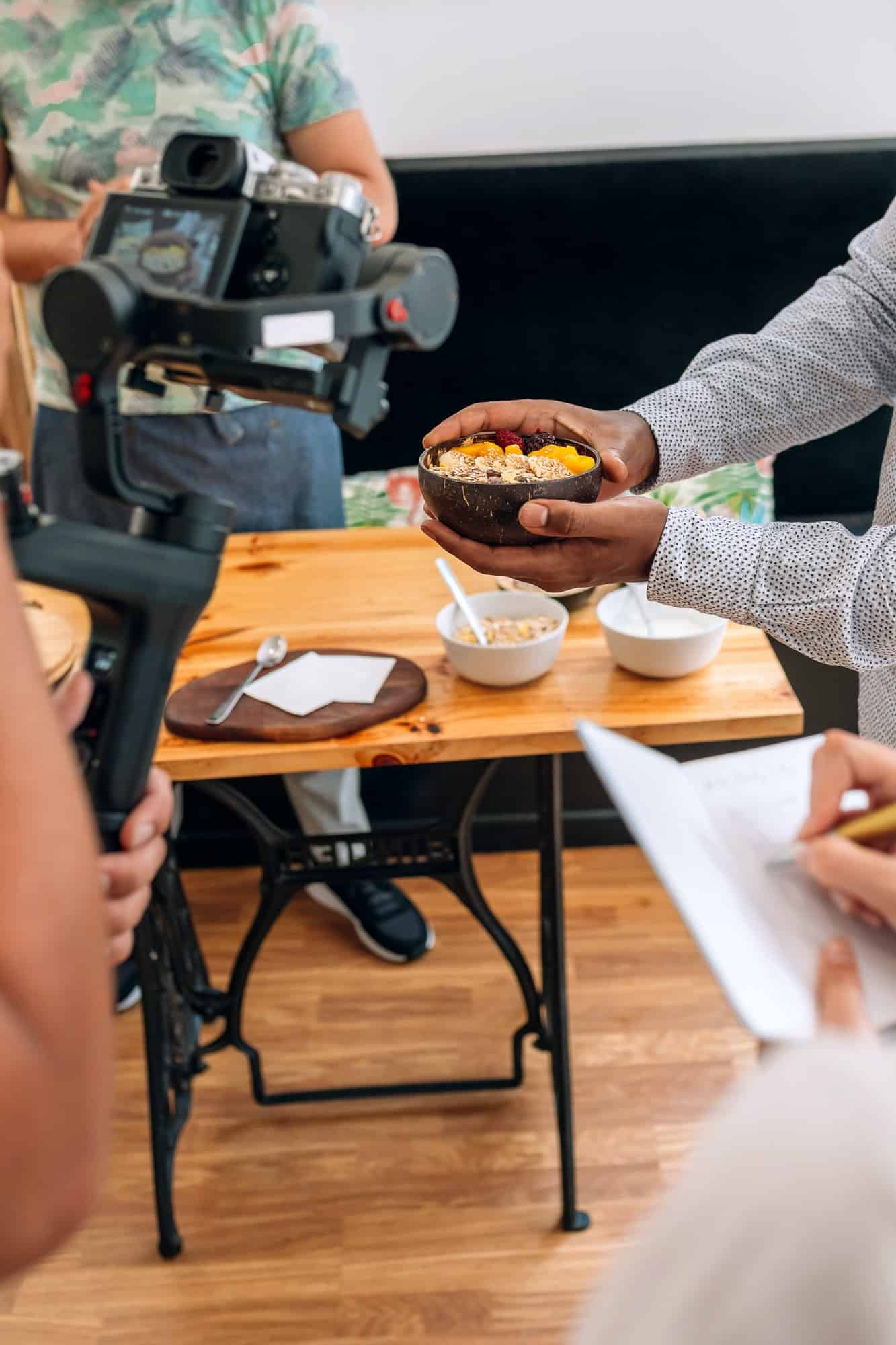 Recording a closeup of a healthy breakfast for a cooking video tutorial